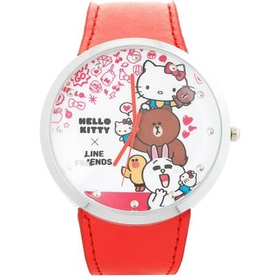 HELLO KITTY 凱蒂貓 x LINE 限量聯名手錶-紅/50mm
