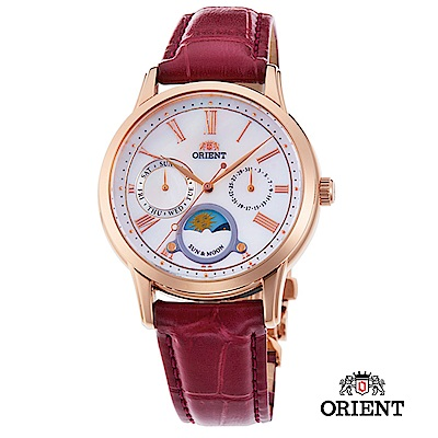 ORIENT 東方錶 SUN&MOON系列 日月相錶 皮帶款 棗紅色-34.8mm