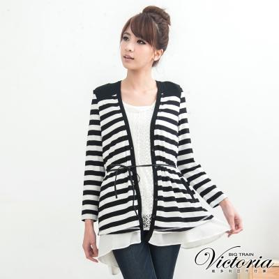 Victoria 雪紡層次條紋外套-女-白色
