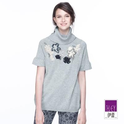ILEY伊蕾 荷葉袖蕾絲貼片繡花針織(灰)