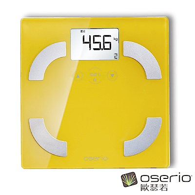 oserio歐瑟若 時尚多彩中文體脂計 (活力黃FLG-351Y)