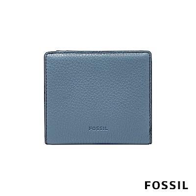 FOSSIL EMMA 真皮皮夾 短夾-霧藍色