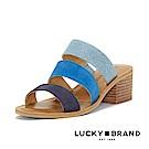 LUCKY BRAND--撞色簡約條帶中跟涼拖鞋-海水藍
