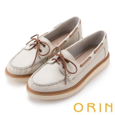 ORIN 休閒時尚潮流 質感荔枝紋綁帶牛皮厚底鞋-白色