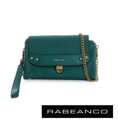 RABEANCO-迷時尚牛皮系列多卡層拉鍊手拎包長夾-綠