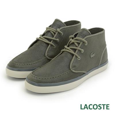 LACOSTE 男用麂皮中筒休閒鞋-灰色