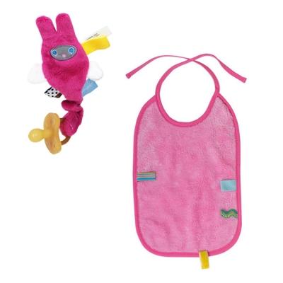 荷蘭Snoozebaby小飛兔布標奶嘴鍊夾(桃紅)+綁帶式布標圍兜(粉紅)