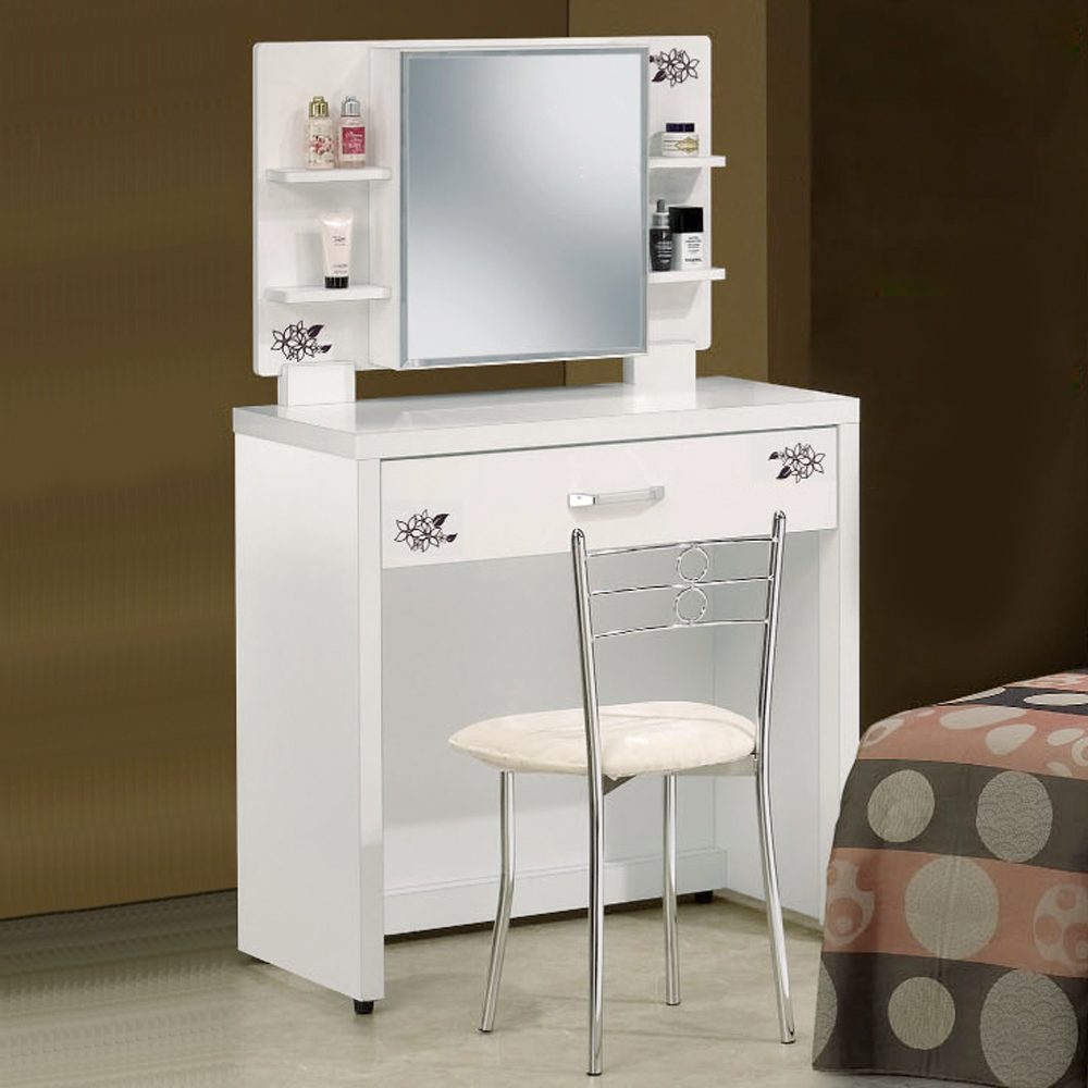 Bernice 梅莉2.7尺純白鏡檯 化妝桌椅組