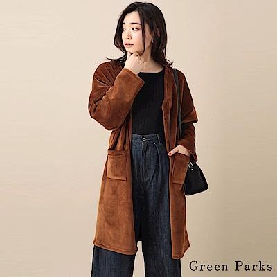 Green Parks 光澤感毛料長版罩衫/大衣