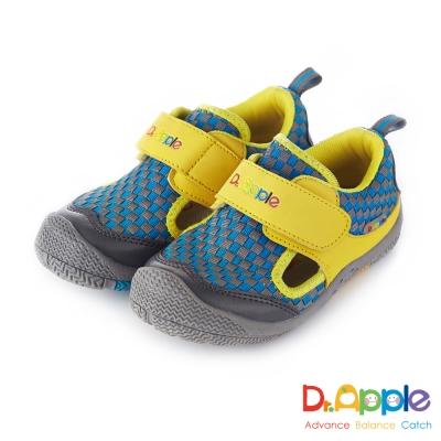 Dr. Apple 機能童鞋 跳色交織方格休閒涼鞋款  黃