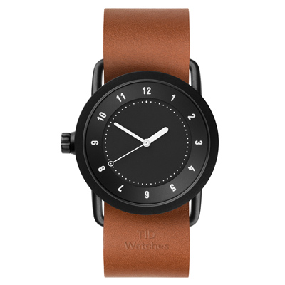 TID Watches No.1 Black 黑x棕褐色真皮腕錶/36mm