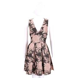 Alice + Olivia 咖啡色金蔥粉花抓褶浮雕無袖洋裝