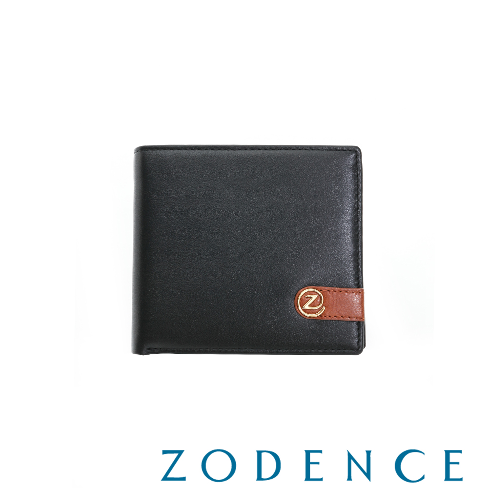 ZODENCE MAN 義大利牛皮系列配色LOGO設計零錢層短夾 黑