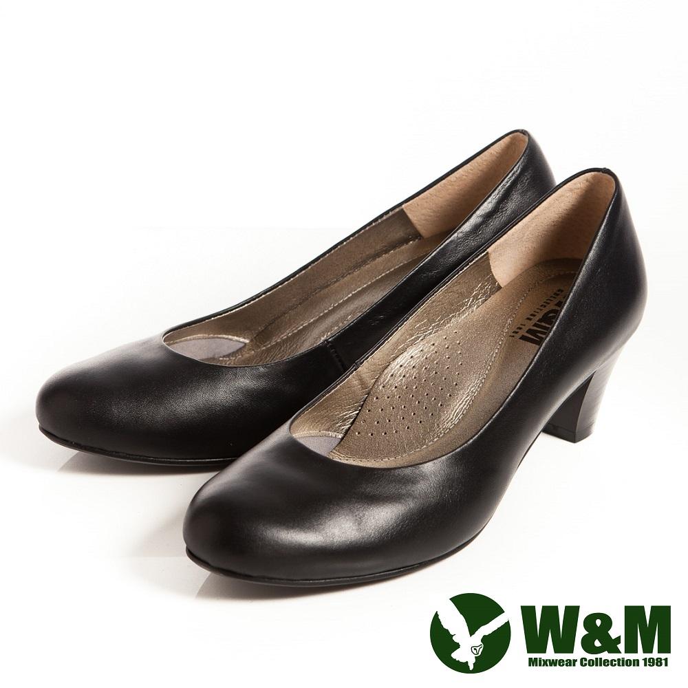 W&M 霧面OL舒適透氣軟墊中跟淑女鞋-黑