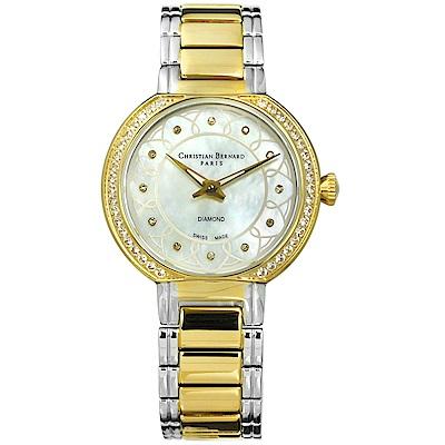 CHRISTIAN BERNARD 伯納錶 真鑽珍珠母貝不鏽鋼手錶-銀x鍍金/33mm