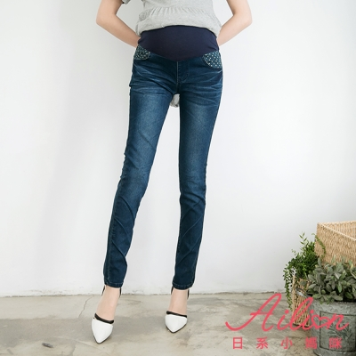 日系小媽咪孕婦裝-孕婦褲~點點口袋褲管立體波紋牛仔褲 S-XXL