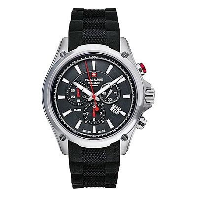 阿爾卑斯 S.A.M-獨家限定-紅色警戒系列三眼計時-黑錶盤/橡膠錶帶/44mm
