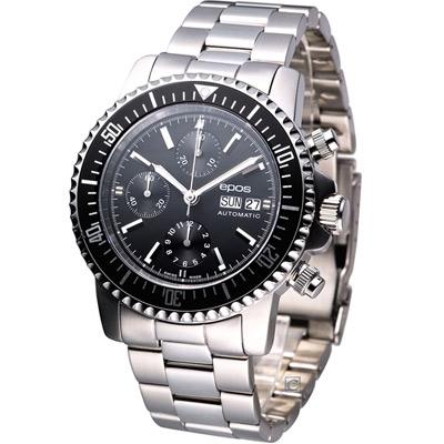 epos Sportive 航海家 200米潛水計時機械錶-黑/44mm