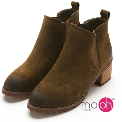 mo.oh 真皮做舊質感切爾西粗跟踝靴-棕色