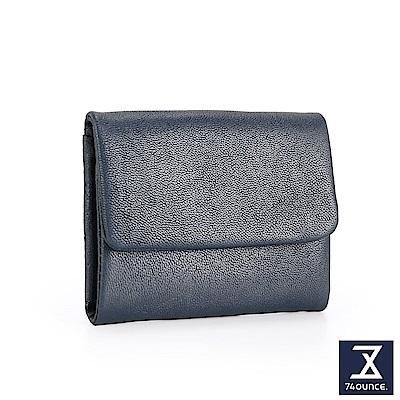 74盎司 翻蓋設計小羊皮短夾[LN-701]藍