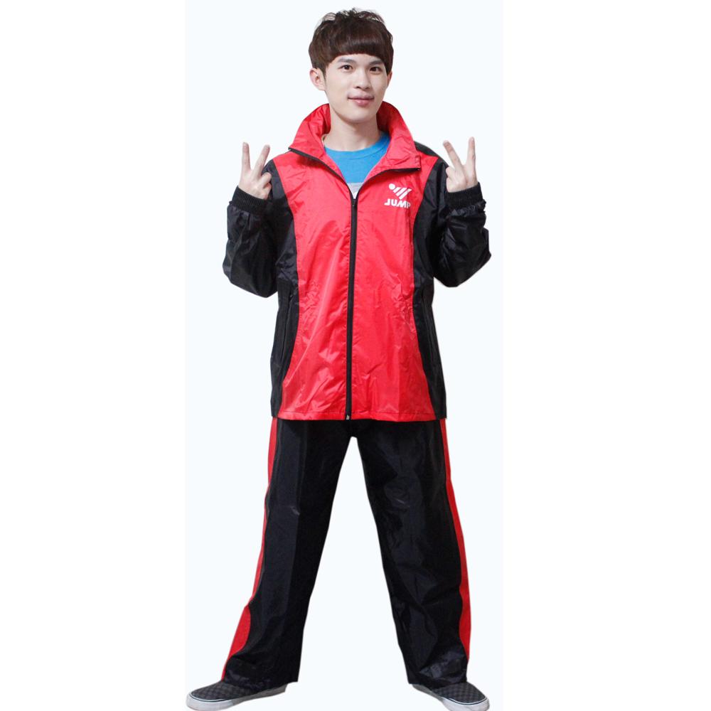 [快]新二代 JUMP 挺酷套裝休閒風雨衣-黑紅+通用鞋套*促銷下殺*
