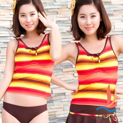 SANQI三奇 人魚傳說 三件式比基尼泳裝泳衣(橘紅M~XL)