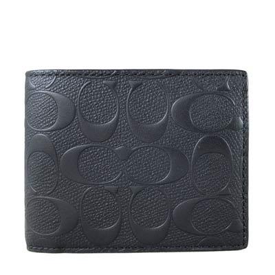 COACH 立體壓印Logo黑色皮革雙折式短夾(8卡-附獨立式窗型卡夾)