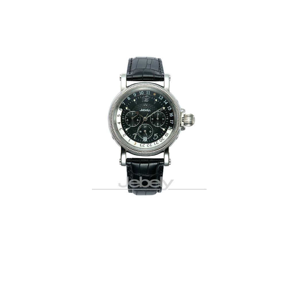 Jebely瑞士機械錶-流森新古城系列-三眼造型機械錶-黑/39mm