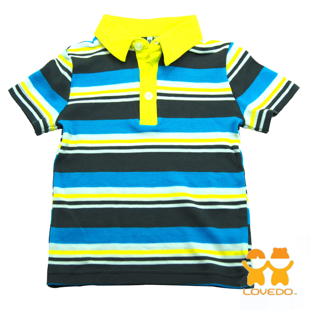 【LOVEDO艾唯多童裝】輕鬆時刻 潮流短袖Polo衫 (藍灰)