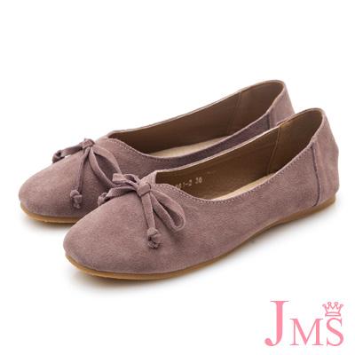 JMS-韓版自然派甜心蝴蝶結牛皮娃娃鞋-粉芋色