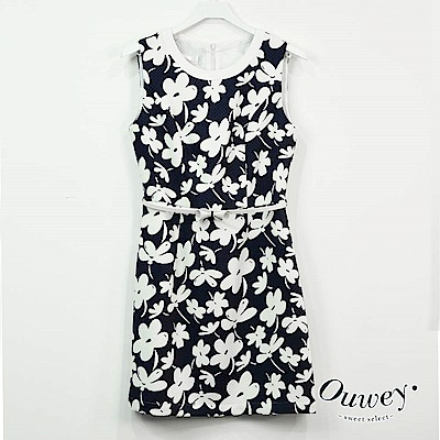 OUWEY歐薇 不規印花朵印花洋裝(藍)