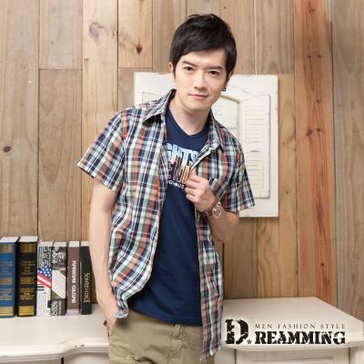 Dreamming 格紋學院氣質純棉短袖休閒襯衫-橘藍
