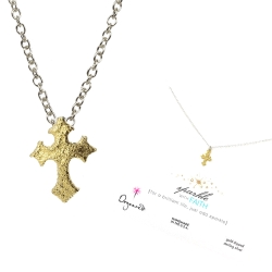 Dogeared 閃亮金十字架sparkle gothic cross銀色許願項鍊附原廠盒