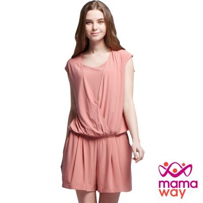 孕婦裝 哺乳衣 假兩件涼爽連身褲裙(共三色) Mamaway