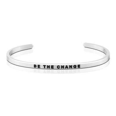MANTRABAND 美國悄悄話手環 BE THE CHANGE 成為更好的自己 銀色