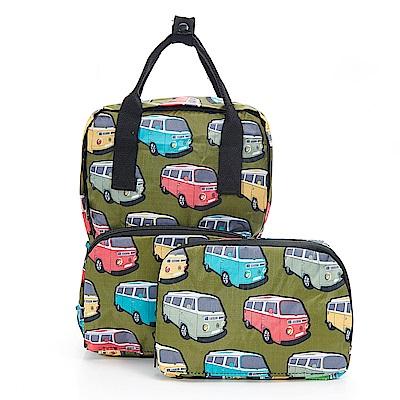 英國ECO CHIC方形折疊收納迷你後背包-可愛巴士 綠