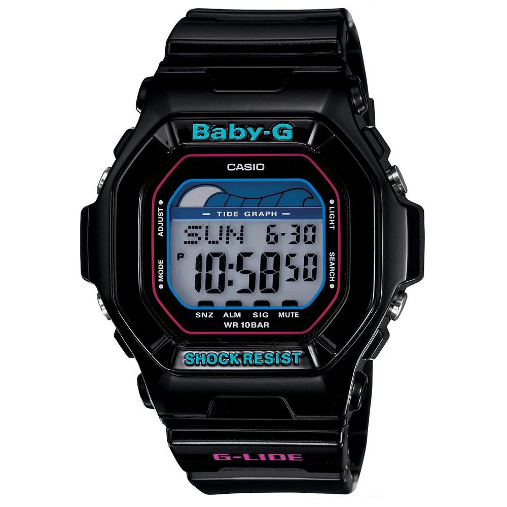 BABY-G 活力衝浪女孩潮汐月齡休閒錶-黑/43.1mm