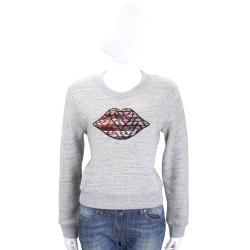 SEE BY CHLOE 灰色多彩織紋嘴唇棉質長袖T恤