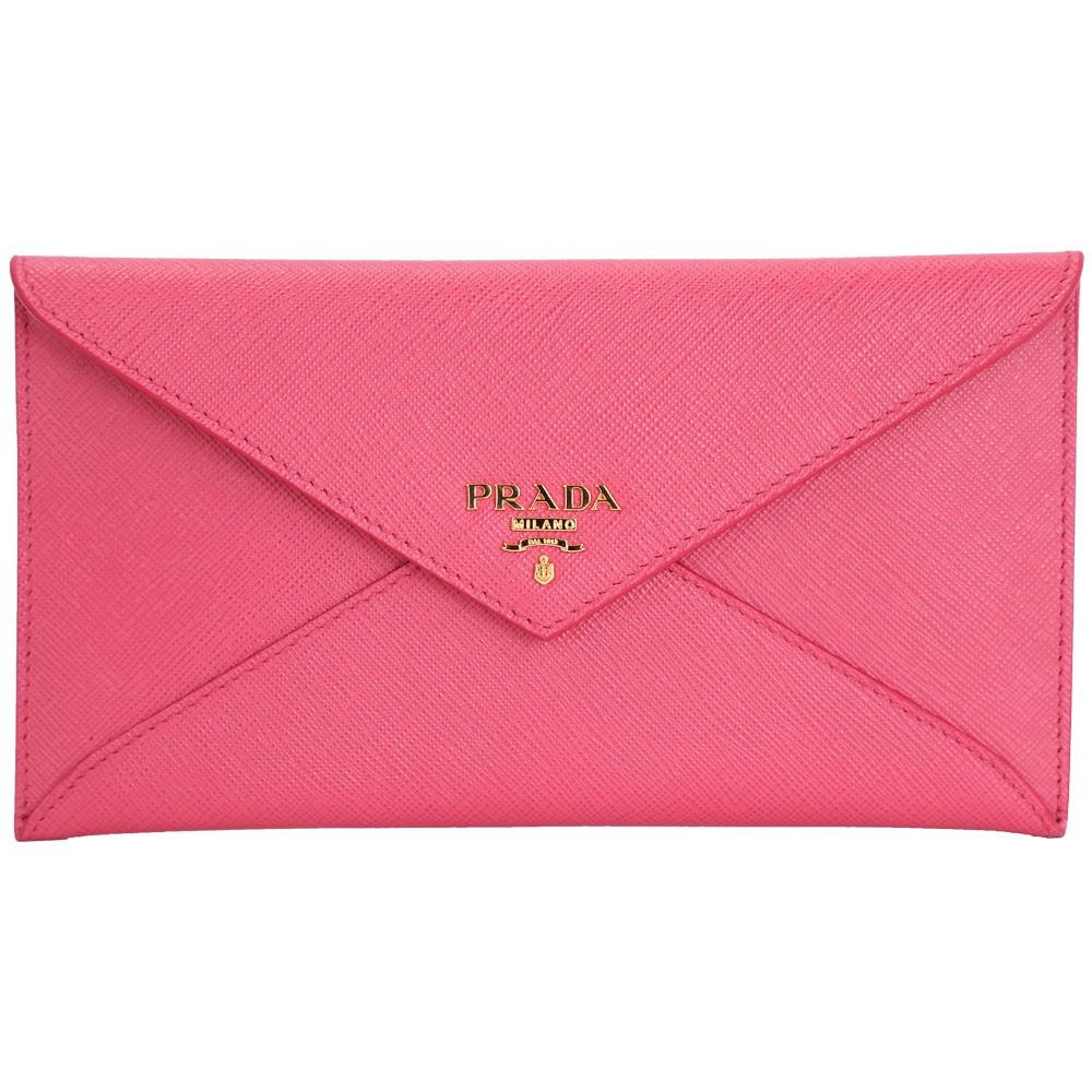 PRADA 信封造型防刮牛皮長夾/手拿包(桃粉色)PRADA