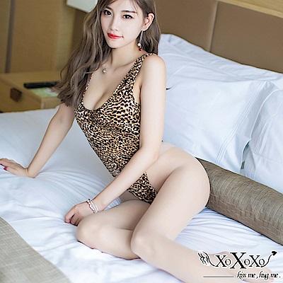 情趣睡衣 野性誘惑豹紋印花高衩死庫水 豹紋咖 XOXOXO