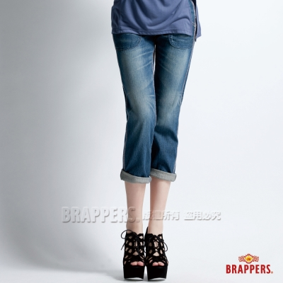 BRAPPERS 女款 Boy Firend Work系列-女用3D八分反摺工作褲-藍