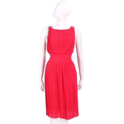 MARELLA 紅色雪紡百褶無袖洋裝