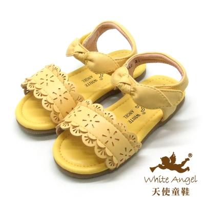 天使童鞋-F5042 俏麗蕾絲雕花涼鞋 (小童)-萊姆黃
