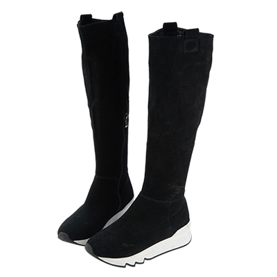 Robinlo&Co. 全真皮牛絨高筒及膝長靴 黑