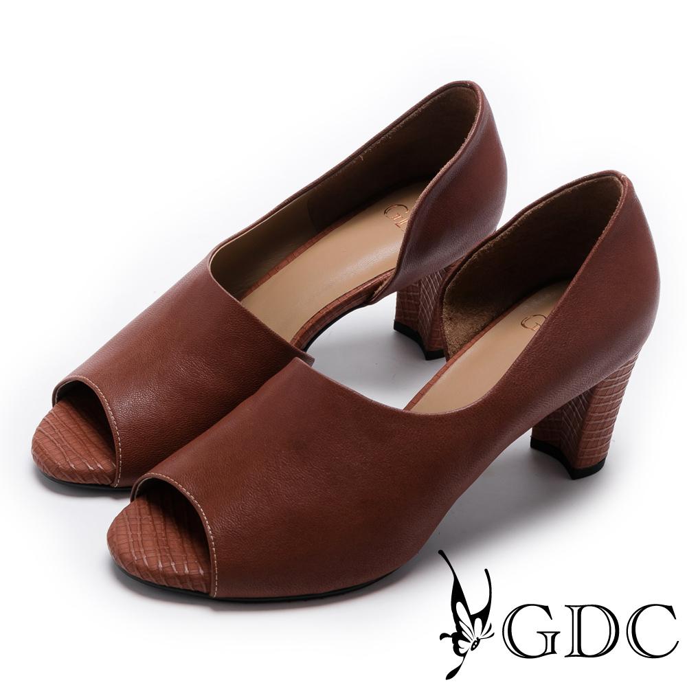 GDC-秋冬款真皮溫柔造型魚口鞋-桔橘色
