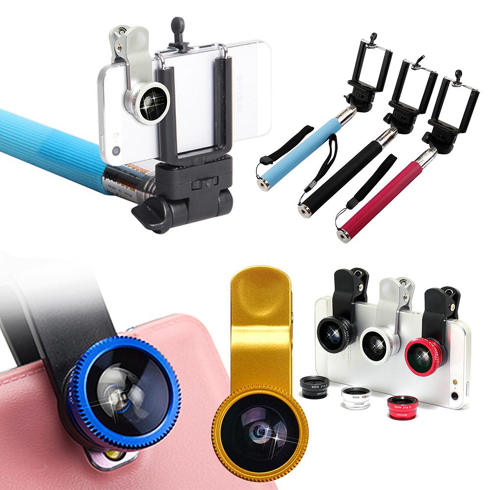 三合一廣角鏡頭+手機/相機 七段伸縮旅行自拍架(送手機托架)組合