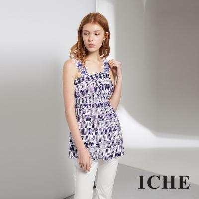 ICHE 衣哲 氣質精緻蕾絲雕花印花造型上衣