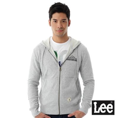 Lee-連帽外套-毛巾內裡連帽拉鍊-男款-麻花灰