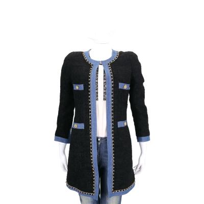 EDWARD ACHOUR PARIS 黑色牛仔滾邊設計長版毛呢外套