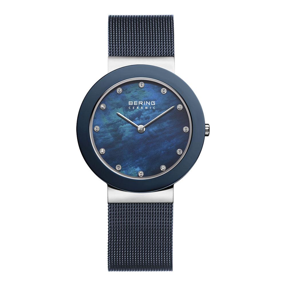 BERING丹麥精品手錶 晶鑽刻度米蘭帶陶瓷錶面 藍寶石鏡面 北歐藍35mm